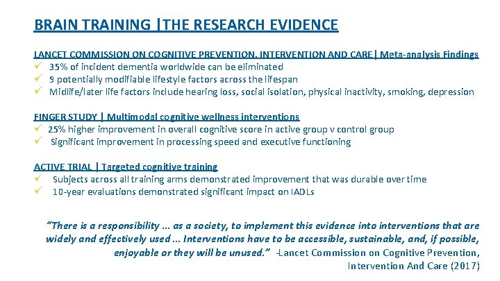 BRAIN TRAINING |THE RESEARCH EVIDENCE LANCET COMMISSION ON COGNITIVE PREVENTION, INTERVENTION AND CARE| Meta-analysis
