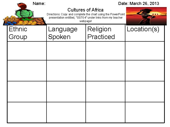 Name: Date: March 26, 2013 Cultures of Africa Directions: Copy and complete the chart