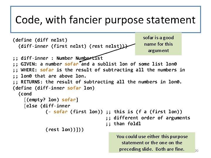 Code, with fancier purpose statement (define (diff nelst) (diff-inner (first nelst) (rest nelst))) sofar