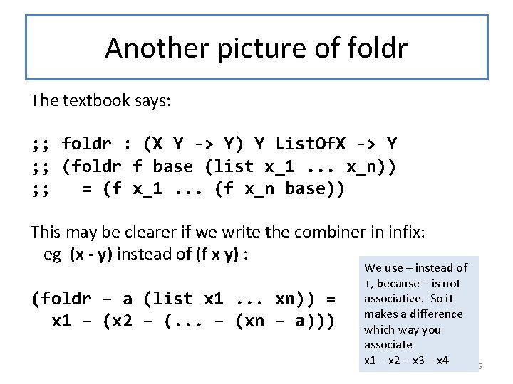 Another picture of foldr The textbook says: ; ; foldr : (X Y ->