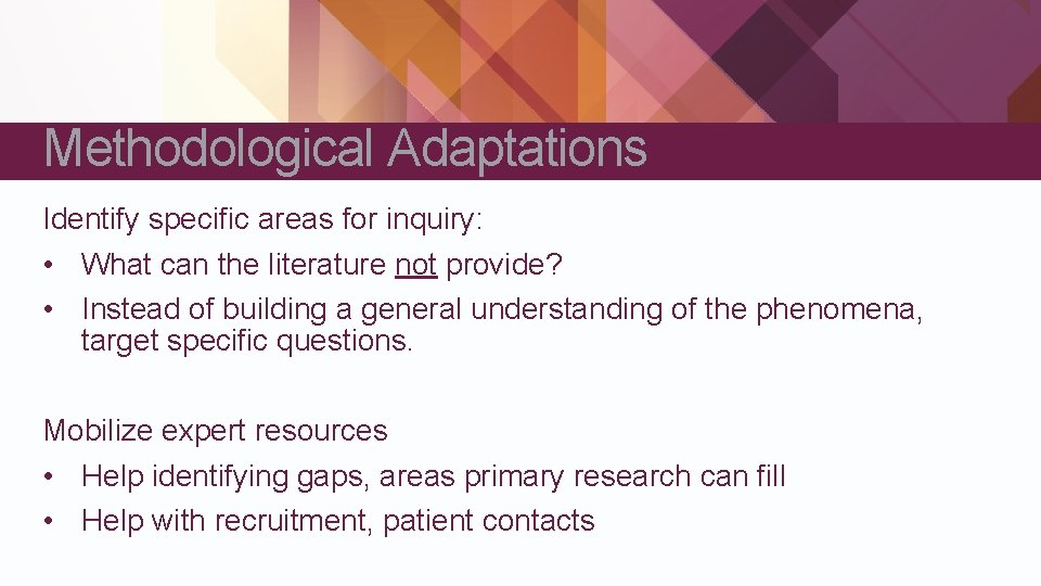 Methodological Adaptations Identify specific areas for inquiry: • What can the literature not provide?