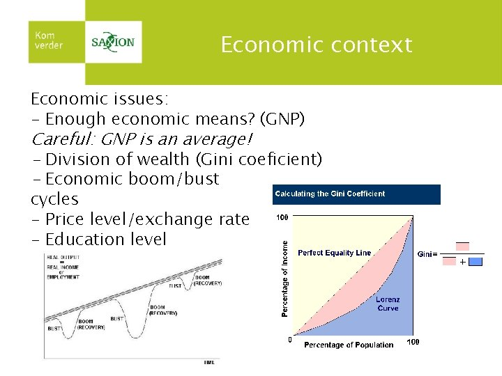 Economic context Economic issues: - Enough economic means? (GNP) Careful: GNP is an average!