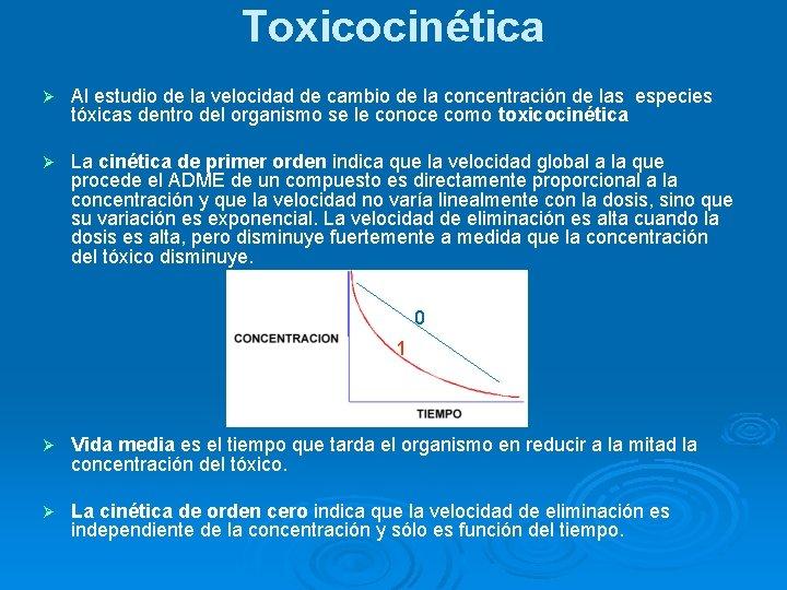 Toxicocinética Ø Al estudio de la velocidad de cambio de la concentración de las