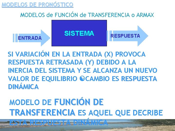 MODELOS DE PRONÓSTICO MODELOS de FUNCIÓN de TRANSFERENCIA o ARMAX ENTRADA SISTEMA RESPUESTA SI