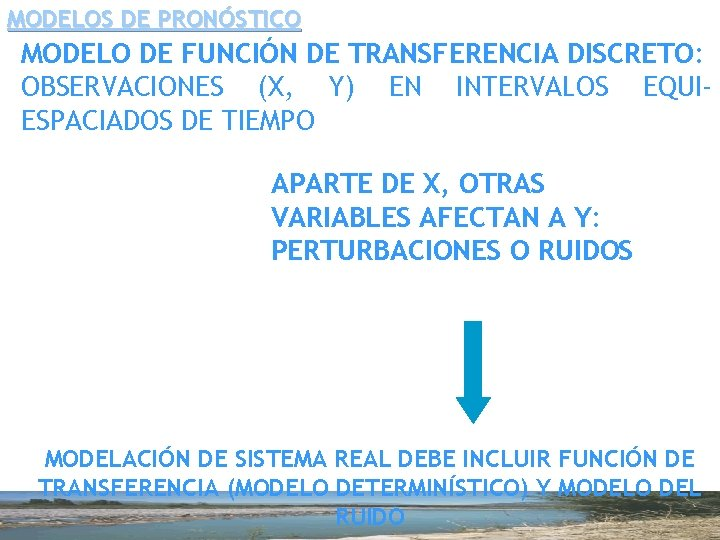 MODELOS DE PRONÓSTICO MODELO DE FUNCIÓN DE TRANSFERENCIA DISCRETO: OBSERVACIONES (X, Y) EN INTERVALOS
