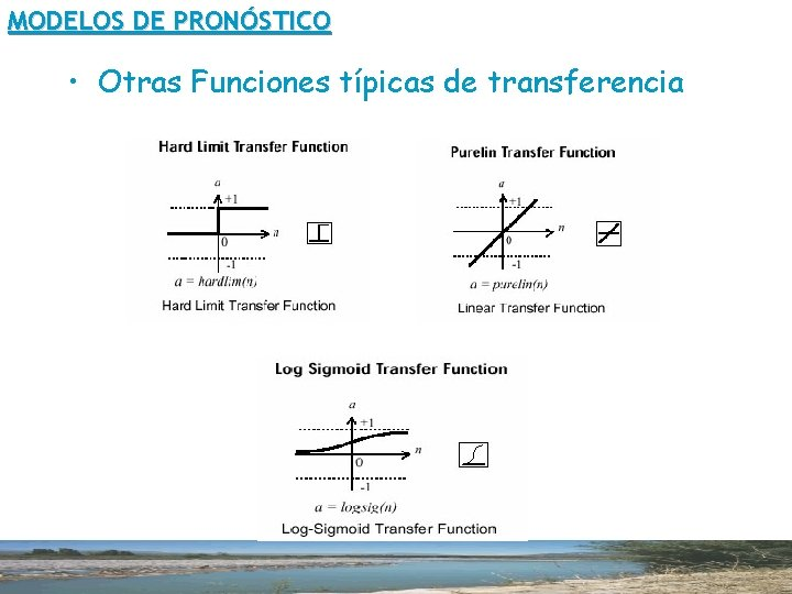 MODELOS DE PRONÓSTICO • Otras Funciones típicas de transferencia