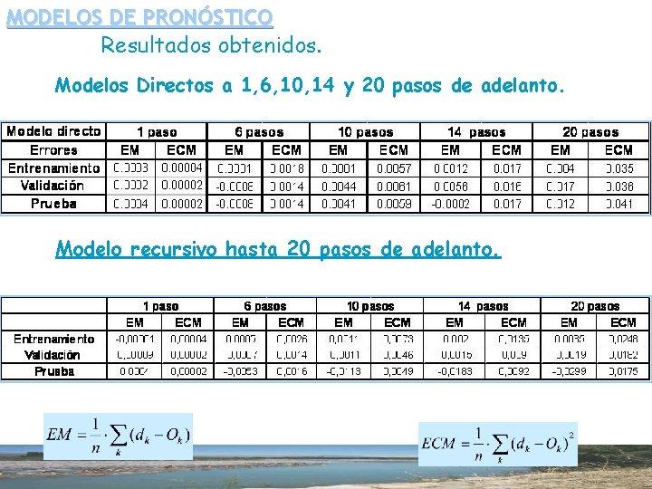 MODELOS DE PRONÓSTICO Resultados obtenidos. Modelos Directos a 1, 6, 10, 14 y 20
