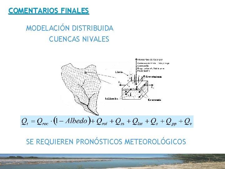COMENTARIOS FINALES MODELACIÓN DISTRIBUIDA CUENCAS NIVALES SE REQUIEREN PRONÓSTICOS METEOROLÓGICOS