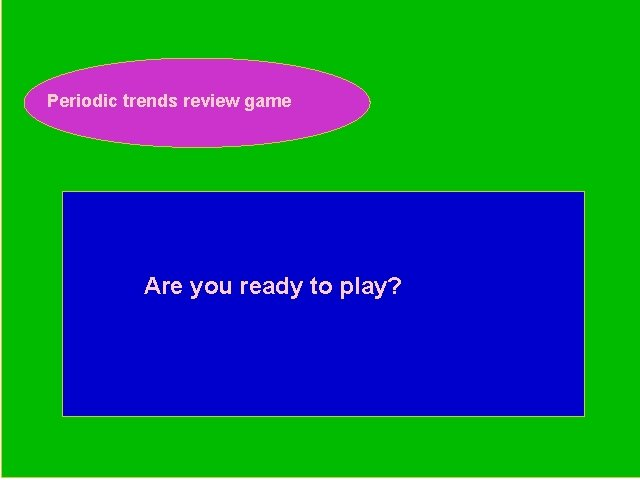 Periodic trends review game Periodic Trends Review Game Are you ready to play?