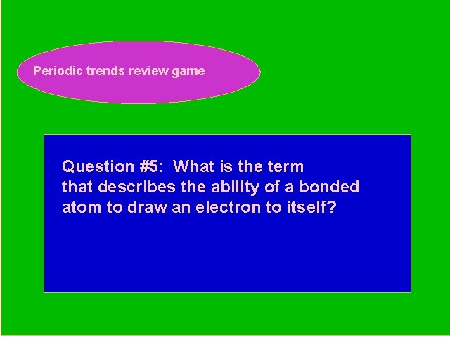 Periodic trends review game Periodic Trends Review Game Question #5: What is the term