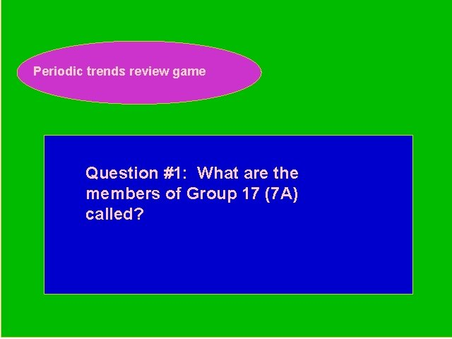 Periodic trends review game Periodic Trends Review Game Question #1: What are the members