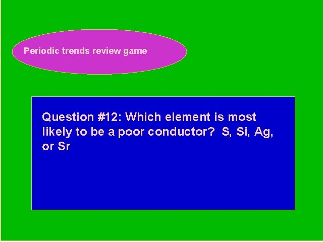 Periodic trends review game Periodic Trends Review Game Question #12: Which element is most