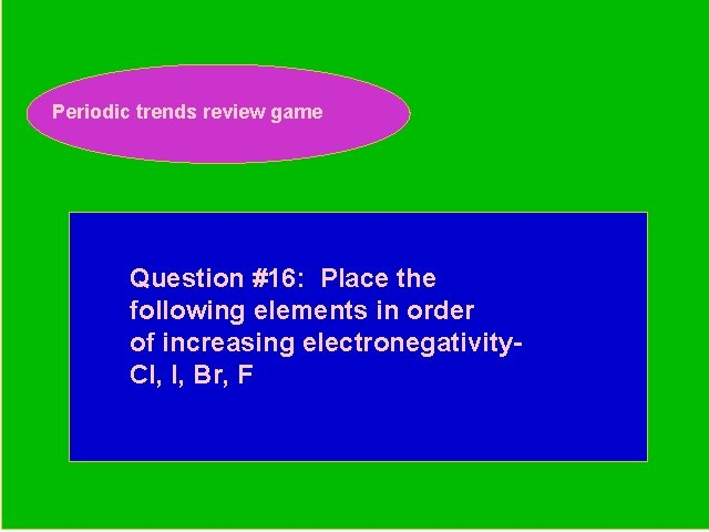 Periodic trends review game Periodic Trends Review Game Question #16: Place the following elements