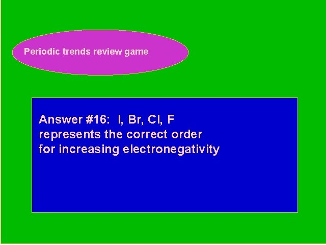 Periodic trends review game Periodic Trends Review Game Answer #16: I, Br, Cl, F