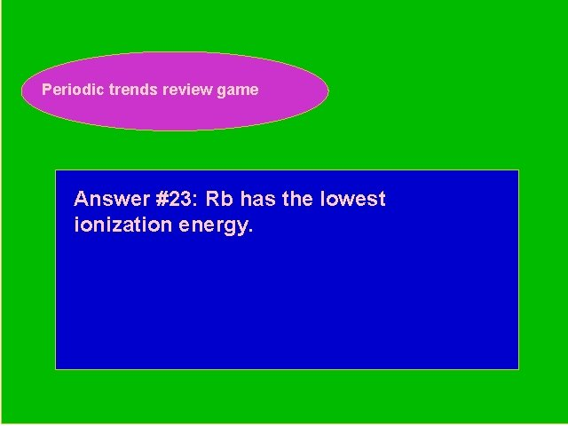 Periodic trends review game Periodic Trends Review Game Answer #23: Rb has the lowest