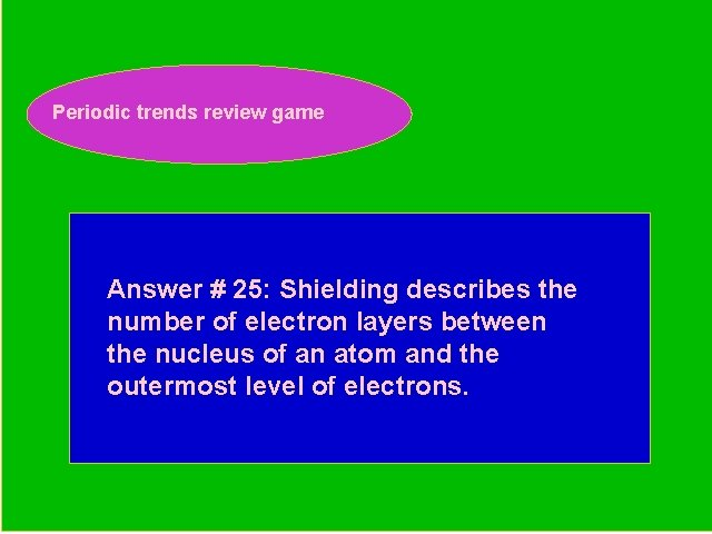 Periodic trends review game Periodic Trends Review Game Answer # 25: Shielding describes the