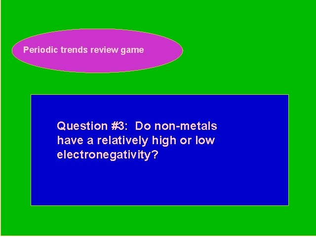 Periodic trends review game Periodic Trends Review Game Question #3: Do non-metals have a