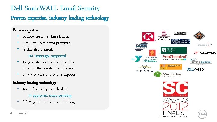 Dell Sonic. WALL Email Security Proven expertise, industry leading technology Proven expertise • 10,