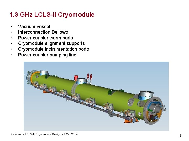 1. 3 GHz LCLS-II Cryomodule • • • Vacuum vessel Interconnection Bellows Power coupler