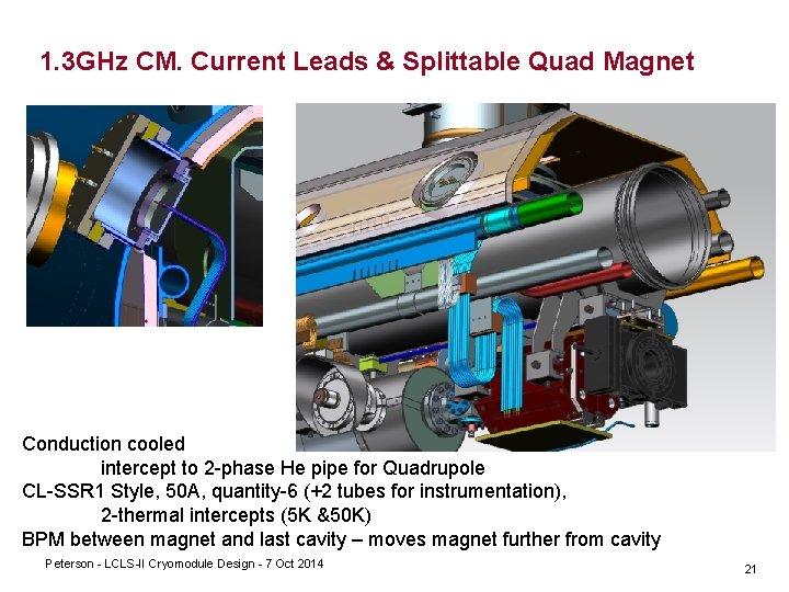 1. 3 GHz CM. Current Leads & Splittable Quad Magnet Conduction cooled intercept to