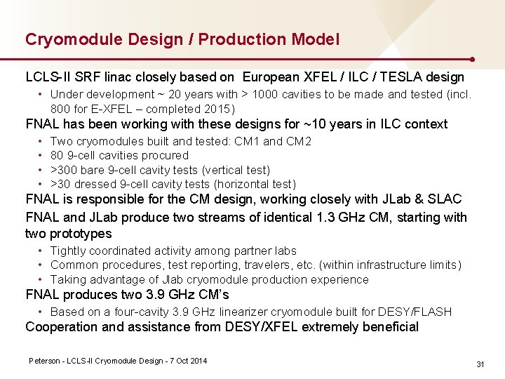 Cryomodule Design / Production Model LCLS II SRF linac closely based on European XFEL