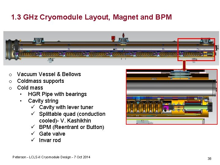 1. 3 GHz Cryomodule Layout, Magnet and BPM o Vacuum Vessel & Bellows o