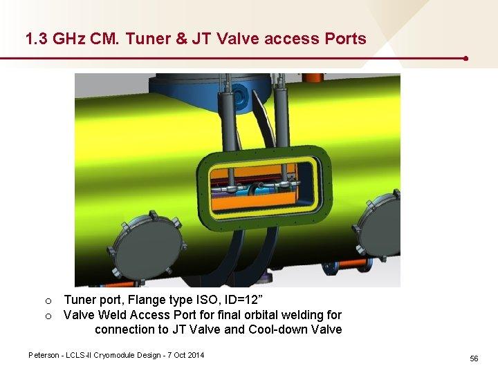 1. 3 GHz CM. Tuner & JT Valve access Ports o Tuner port, Flange