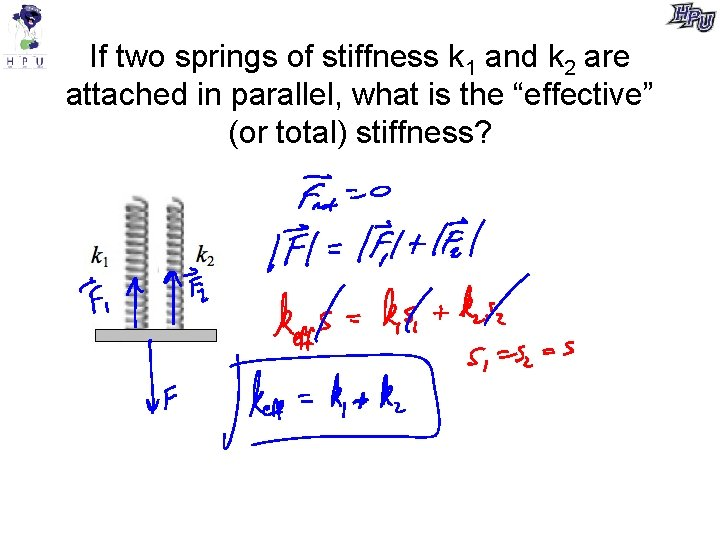 If two springs of stiffness k 1 and k 2 are attached in parallel,
