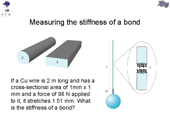 Measuring the stiffness of a bond If a Cu wire is 2 m long