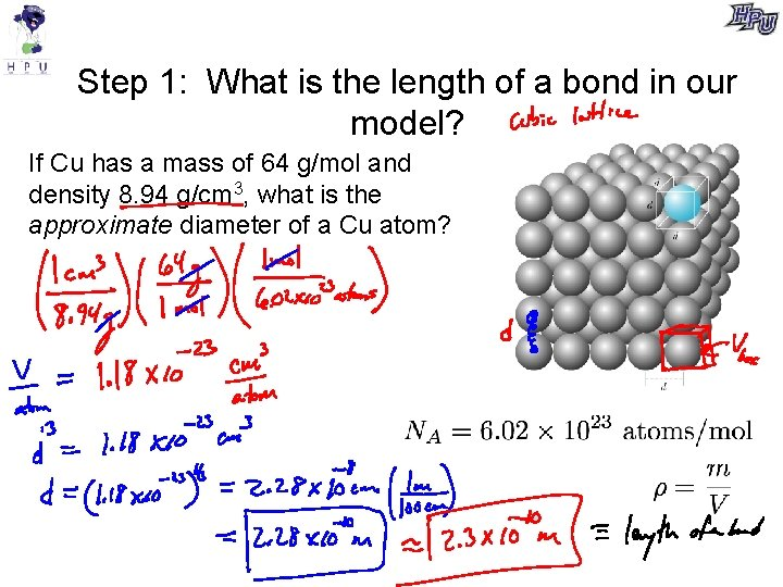 Step 1: What is the length of a bond in our model? If Cu