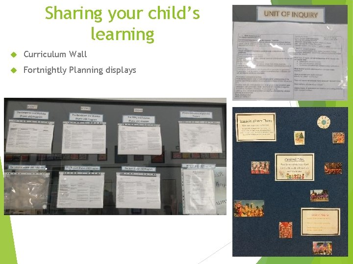 Sharing your child's learning Curriculum Wall Fortnightly Planning displays