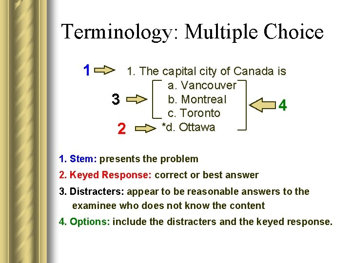 Terminology: Multiple Choice 1 1. The capital city of Canada is a. Vancouver b.