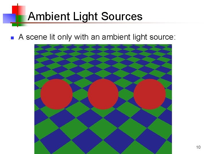 Ambient Light Sources n A scene lit only with an ambient light source: 10