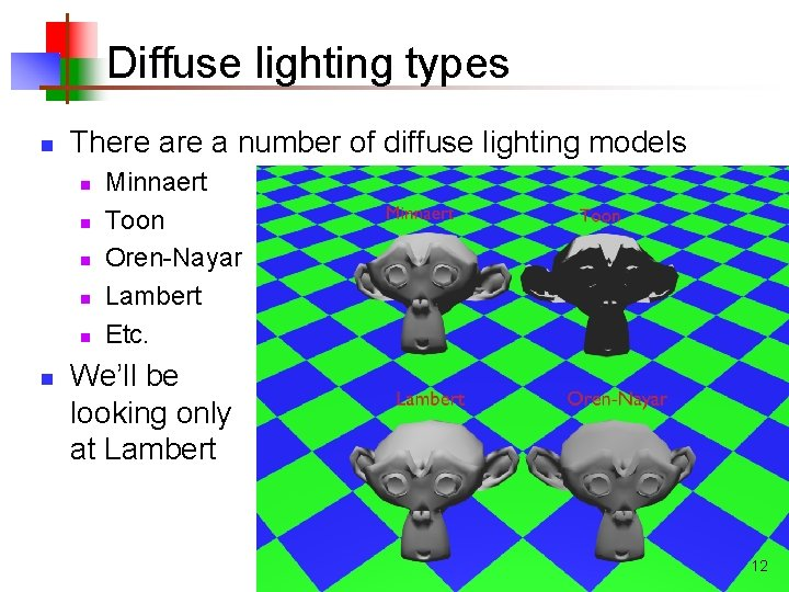 Diffuse lighting types n There a number of diffuse lighting models n n n
