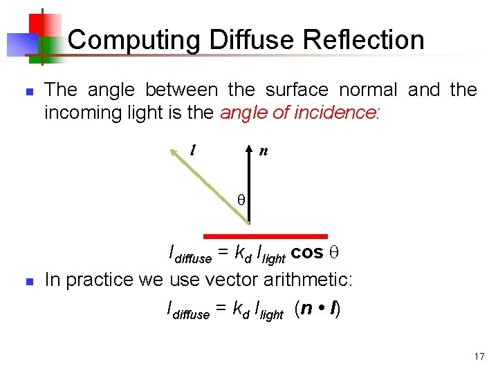 Computing Diffuse Reflection n The angle between the surface normal and the incoming light