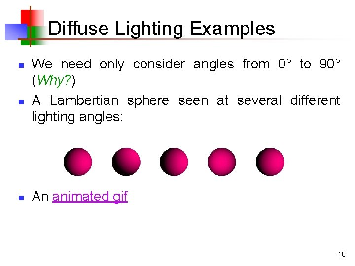 Diffuse Lighting Examples n n n We need only consider angles from 0° to
