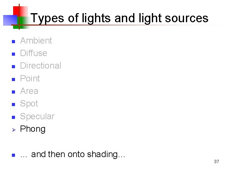 Types of lights and light sources Ø Ambient Diffuse Directional Point Area Spot Specular