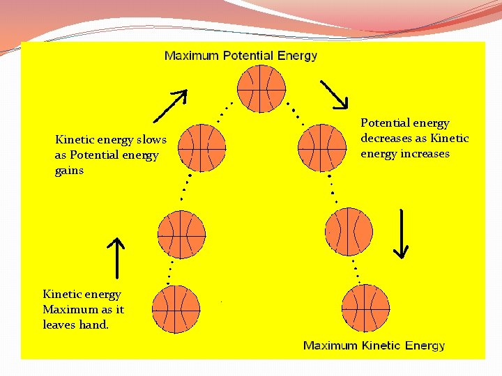 Kinetic energy slows as Potential energy gains Kinetic energy Maximum as it leaves hand.