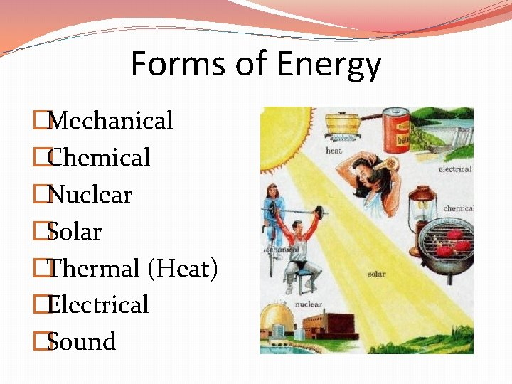 Forms of Energy �Mechanical �Chemical �Nuclear �Solar �Thermal (Heat) �Electrical �Sound