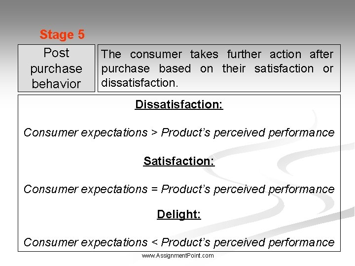 Stage 5 Post purchase behavior The consumer takes further action after purchase based on