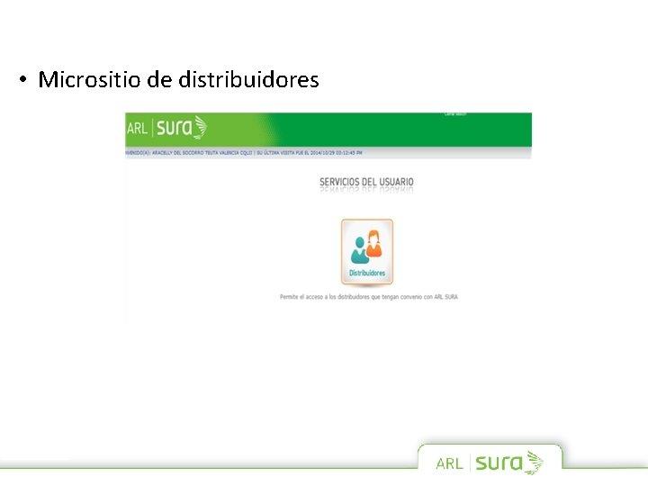 • Micrositio de distribuidores