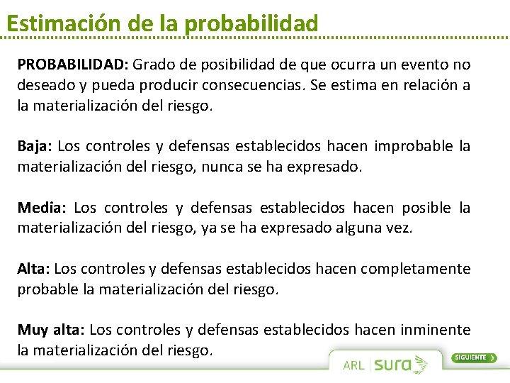 Estimación de la probabilidad PROBABILIDAD: Grado de posibilidad de que ocurra un evento no