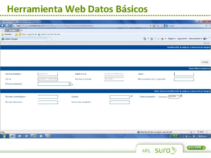 Herramienta Web Datos Básicos