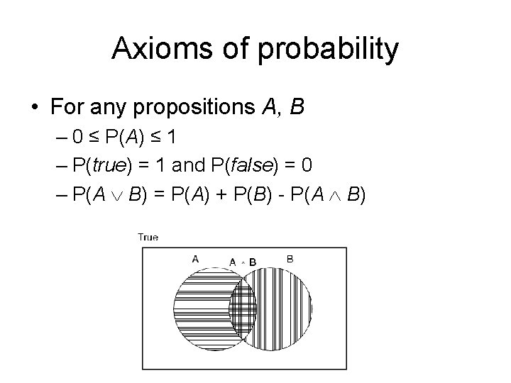 Axioms of probability • For any propositions A, B – 0 ≤ P(A) ≤