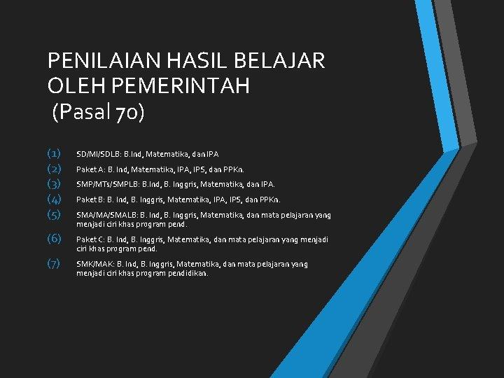 PENILAIAN HASIL BELAJAR OLEH PEMERINTAH (Pasal 70) (1) (2) (3) (4) (5) SD/MI/SDLB: B.