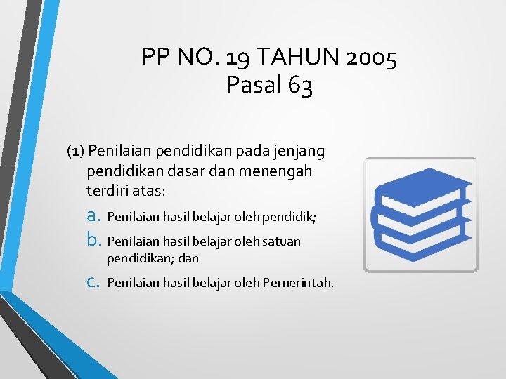 PP NO. 19 TAHUN 2005 Pasal 63 (1) Penilaian pendidikan pada jenjang pendidikan dasar