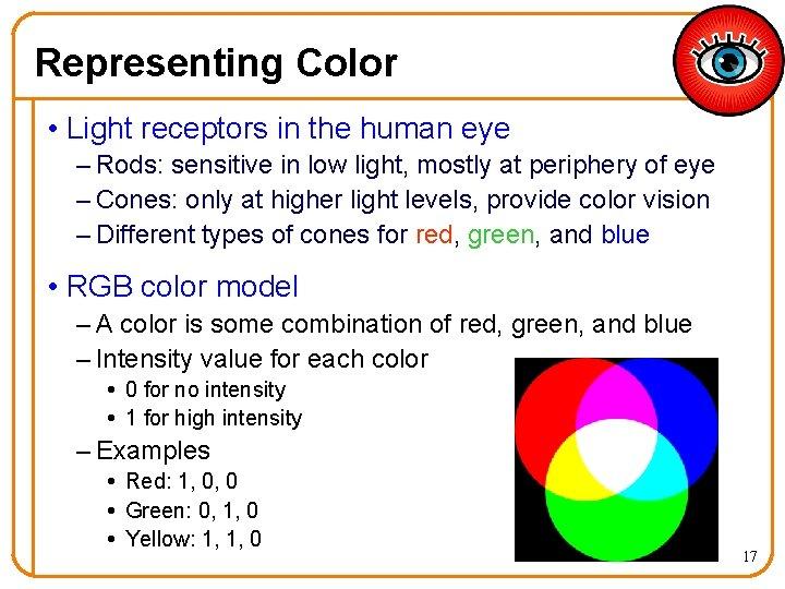 Representing Color • Light receptors in the human eye – Rods: sensitive in low