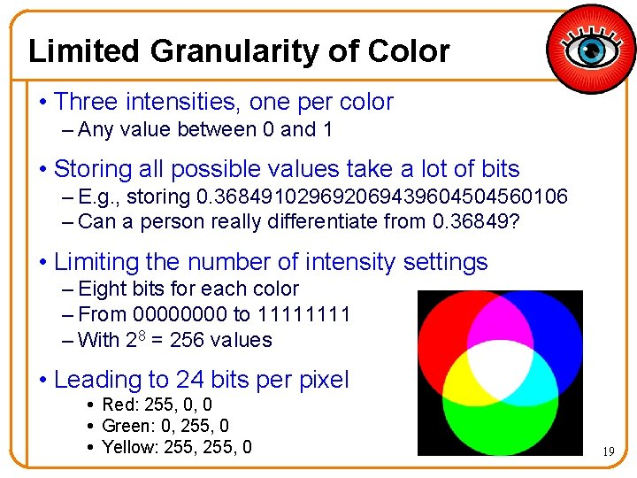 Limited Granularity of Color • Three intensities, one per color – Any value between