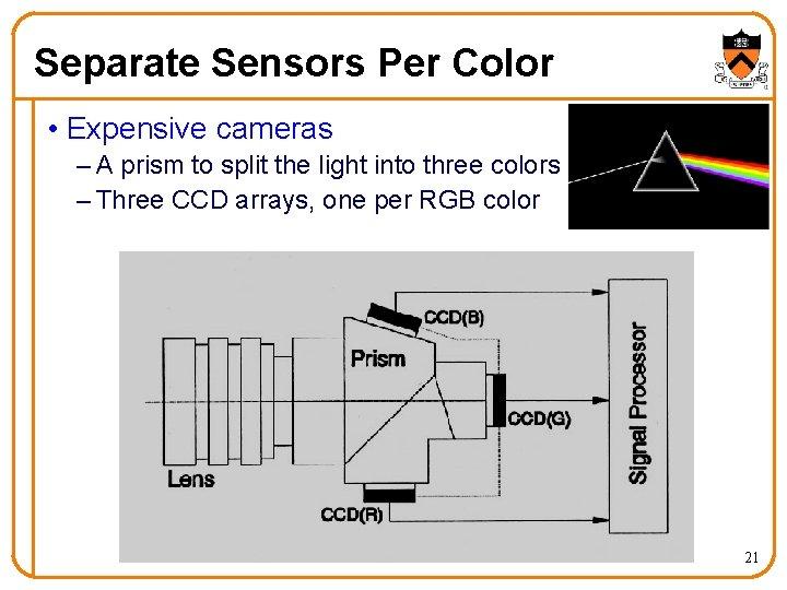 Separate Sensors Per Color • Expensive cameras – A prism to split the light