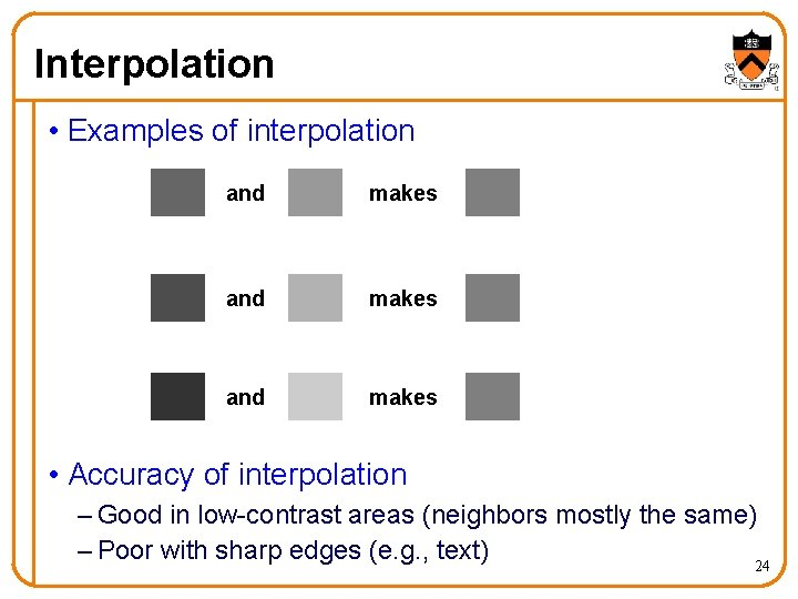 Interpolation • Examples of interpolation and makes • Accuracy of interpolation – Good in
